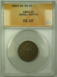 1864 Small Motto Two Cent 2c Piece Coin ANACS  RJS