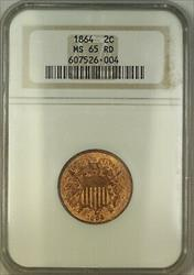 1864 Two Cent Piece 2c Coin ANACS  Red GEM BU