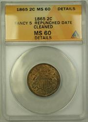 1865 Fancy 5 Repunched Date Two Cent Piece ANACS  Details