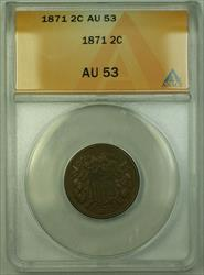 1871 Two Cent 2c Piece Coin ANACS  RJS
