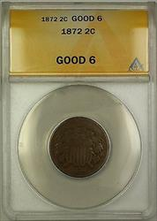 1872 Two Cent Piece 2c ANACS  (Better Coin) *Key Date*