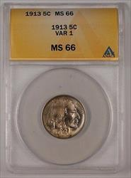 1913 Buffalo Nickel 5C Coin ANACS  VAR 1 Lightly Toned (1)