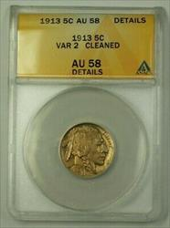 1913 US Buffalo Nickel 5c Coin VAR 2 ANACS  Details Cleaned (Better)