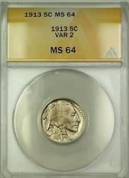 1913 Variety 2 Buffalo Nickel 5c ANACS  (Better Coin)