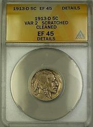 1913-D Variety 2 Buffalo Nickel 5c Coin ANACS  Details Cleaned Scratched