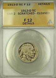 1913-D Variety 2 Buffalo Nickel 5c Coin ANACS  Details Scratched Cleaned