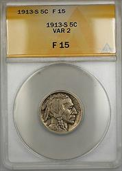 1913-S Var 2 Buffalo Nickel 5c Coin ANACS  PRX