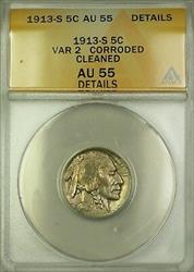 1913-S Variety 2 Buffalo Nickel 5c Coin ANACS  Details Cleaned Corroded