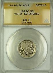 1913-S Variety 2 Buffalo Nickel 5c Coin ANACS  Details Scratched