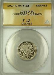 1914-D Buffalo Nickel 5c Coin ANACS  Details Cleaned Corroded (A)