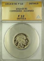 1914-D Buffalo Nickel 5c Coin ANACS  Details Cleaned Corroded (B)