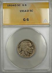 1914-D Buffalo Nickel 5c Coin ANACS  PRX