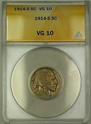 1914-S Buffalo Nickel 5c Coin ANACS