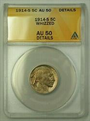 1914-S US Buffalo Nickel 5c Coin *Scarce Date* ANACS  Details Whizzed