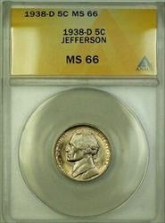 1938-D Jefferson Nickel 5c ANACS  Gem BU (Better Coin) (A)