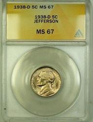 1938-D Jefferson Nickel 5c Coin ANACS  Gem BU