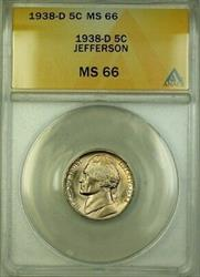 1938-D Jefferson Nickel 5c Coin ANACS  Gem BU (B)