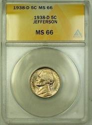 1938-D Jefferson Nickel 5c Coin ANACS  Gem BU (F)