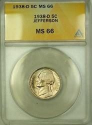 1938-D Jefferson Nickel 5c Coin ANACS  Gem BU (G)