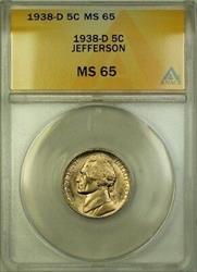 1938-D Jefferson Nickel 5c Coin ANACS  Gem BU (L)