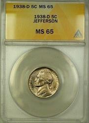 1938-D Jefferson Nickel 5c Coin ANACS  Gem BU (M)