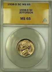 1938-D Jefferson Nickel 5c Coin ANACS  Gem BU (N)