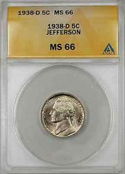 1938-D Jefferson Nickel Coin 5C ANACS  B