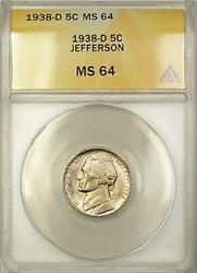 1938-D Jefferson Nickel Coin 5C ANACS  Better Coin (F)