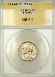 1938-D Jefferson Nickel Coin 5C ANACS  Better Coin (G)