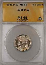 1941-D Jefferson Nickel Coin 5C ANACS  5.5 Steps