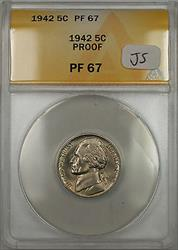 1942 Proof Jefferson Monticello Nickel 5C Coin ANACS  (JS)