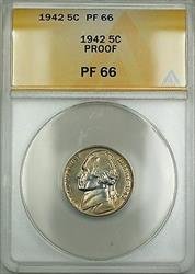 1942 Proof Jefferson Nickel 5c Coin ANACS