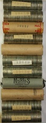 1942-45 Silver War Nickel Half Roll Set One Half Roll 20 coins Each Date/MM BU!