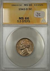 1942-D Jefferson Monticello Nickel 5C Coin ANACS  5.5 Steps (JS)
