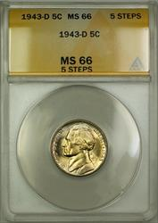 1943-D 5 Steps Wartime Silver Jefferson Nickel Coin ANACS  Lightly Toned(A)