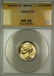 1943-D 5.5 Steps Wartime Silver Jefferson Nickel 5c Coin ANACS  (B)