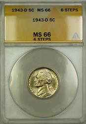 1943-D 6 Steps Wartime Silver Jefferson Nickel Coin ANACS  (B)