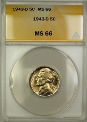 1943-D Wartime Silver Jefferson Nickel 5c Coin ANACS  (H)