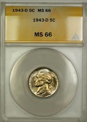1943-D Wartime Silver Jefferson Nickel 5c Coin ANACS  (i)