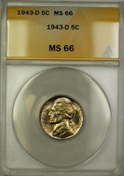 1943-D Wartime Silver Jefferson Nickel 5c Coin ANACS  (J)