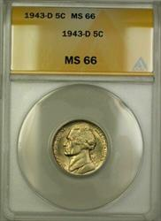 1943-D Wartime Silver Jefferson Nickel 5c Coin ANACS  (K)