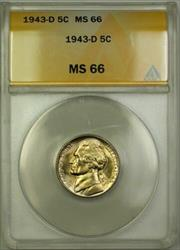 1943-D Wartime Silver Jefferson Nickel 5c Coin ANACS  (L)