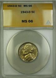 1943-D Wartime Silver Jefferson Nickel 5c Coin ANACS  (Q)