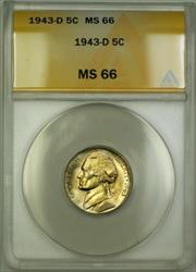 1943-D Wartime Silver Jefferson Nickel 5c Coin ANACS  (S)