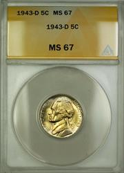 1943-D Wartime Silver Jefferson Nickel 5c Coin ANACS  Lightly Toned (B)