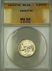 1943-P 5 Steps U.S. Wartime Silver Jefferson Nickel 5c Coin ANACS  (C)