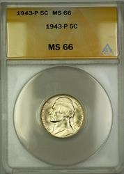 1943-P U.S. Wartime Silver Jefferson Nickel 5c Coin ANACS  (A)