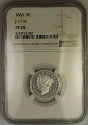 1883 Liberty Nickel Pattern Gem Proof 5c Coin NGC  J-1716 Judd WW