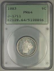 1883 Liberty Nickel Pattern Proof 5c Coin PCGS  OGH Rattler J-1711 Judd WW