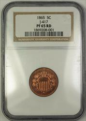 1865 Shield Nickel Rays Pattern Gem Proof 5c Coin NGC  RD Red J-417 Judd WW